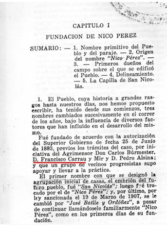 """Extraído de """"El Pueblo de Nico Pérez, hoy denominado José Batlle y Ordóñez"""" Ramón G. Pereira Pérez"""